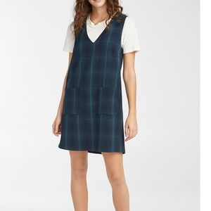 Retro blue check plaid V-neck apron dress  NWT